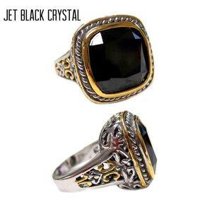 Jet Black Crystal Ring W Two Tone Metalwork, sz6